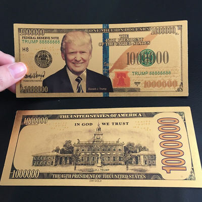 $1000000 Dollar Bill US President Donald Trump New Colorized Gold Foil Banknote