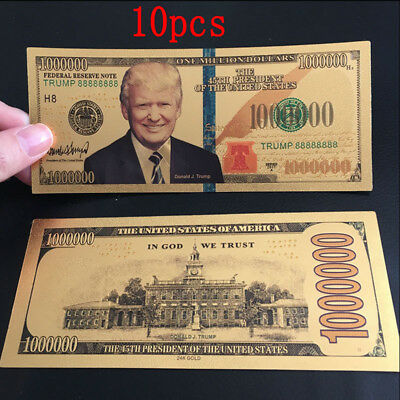 10 x US President Donald Trump Colorized $1000000 Dollar Bill Gold Foil Banknote