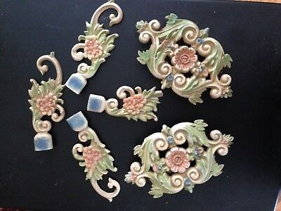 Beautiful Victorian Cast Iron Finials Center Pieces Lovely Pastel Paint Colors