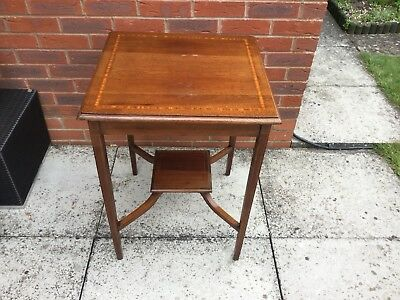 Edwardian Lamp Side Table Mahogany Crossbanding Stringing
