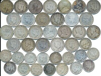 41 Old Silver 5 And 10 Cent Coins Newfoundland Canada 1894-1945