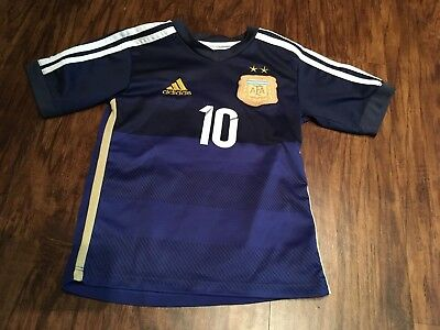 detailed look c2fd7 099dd LIONEL MESSI ARGENTINA 2014 World Cup Adidas Away Jersey Youth Kids S Small