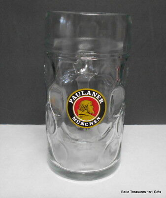 Paulaner Munchen German Glass Beer Mug Stein 1L