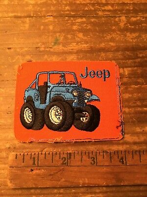 Vintage Embroidered Jeep Patch Iron-On Patch CJ-7 Blue/Orange