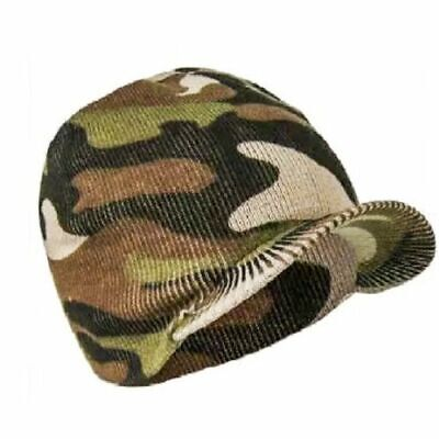 Mens Camouflage Peaked Beanie Hat Winter Warm knitted Camo Cap Army Style c33c1ee5618