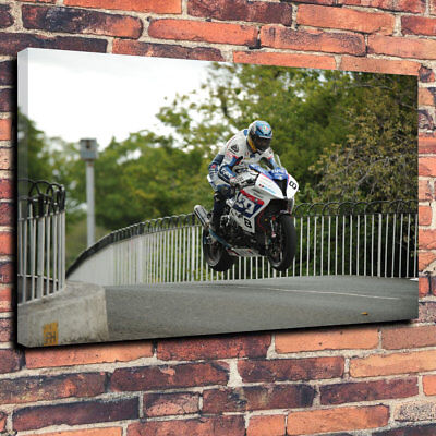 "Isle Of Man TT Course Printed Canvas Picture A1.30/""x20/"" 30mm Deep Road Racing"