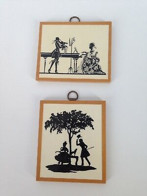 (2) Antique BRITISH EMPIRE Made Small Wood Art Pictures Silhouettes, Dollhouse