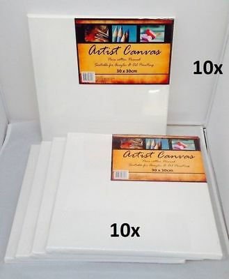 10 x Artist Canvas 30x30cm Blank White For Oil & Acrylic Painting Ready to Paint