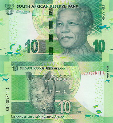 South Africa 10 Rand (ND/2013) - Rhino/Omron Circles/p138 UNC