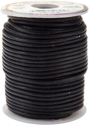 Tandy Leather Factory 5050-01 Round Leather Lace 2mmX25yd Spool-Black