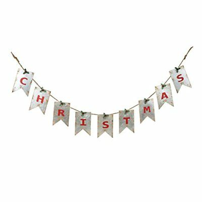 Christmas Distressed White Pennant with Red Letters 67.5 x 7 Galvanized Metal