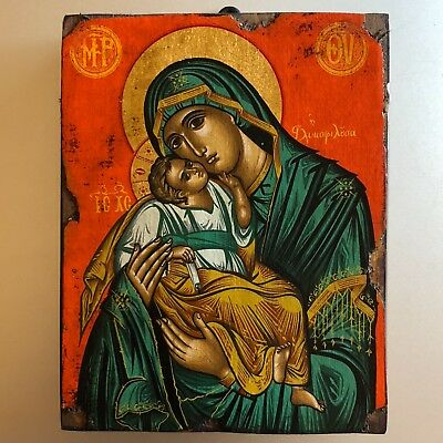 Father Pefkis Mother Mary Madonna and Child Jesus Byzantine style WITH BOX