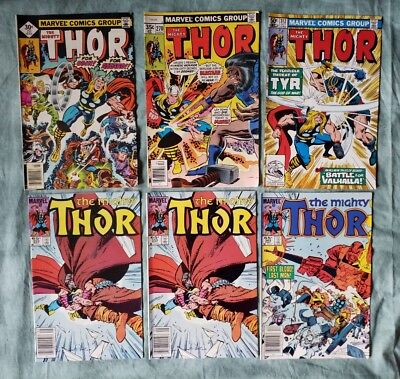 LOT OF 6 THE MIGHTY THOR COMICS (MARVEL1976-1985) see disc. ●