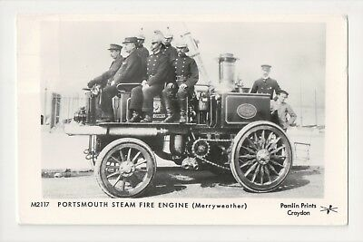 E-741 Portsmouth Steam Fire Engine Merryweather Vintage Real Photo RPPC