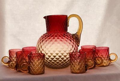 Large Antique Amberina Diamond Quilted Glass Pitcher & 8 Cups New England