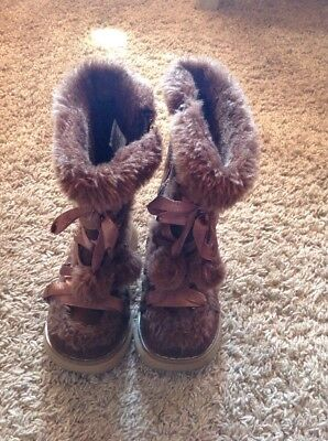 USED Hotcakes Toddler Girls Lace Up Pom Pom Boots Brown Zipper Sz 8