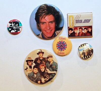 LOT of 6 1980's Vintage Duran Duran Pins/Buttons (10)