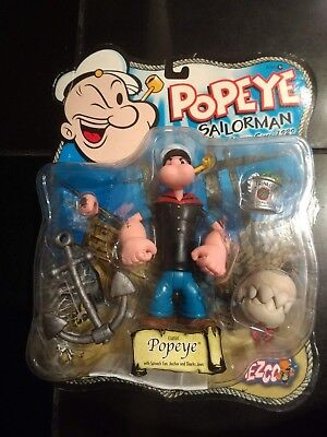 2001 Classic Popeye The Sailorman Mezco NRFB  with Spinach, Anchor, & Shark Jaws
