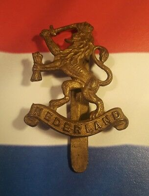 "WWII  Dutch Army in Exile cap badge  ""VERYRARE""  slider intact"