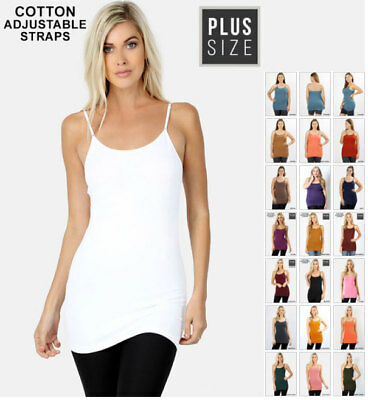 Plus Size Basic Cotton Adjustable Long Spaghetti Straps Camisole Top ST3000X