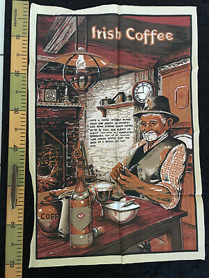 Vintage Pure Linen Irish coffee tea towel old man packing pipe