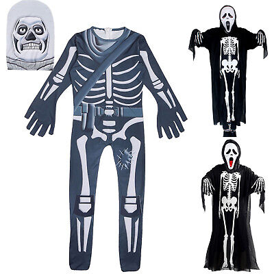 Halloween Costume Fortnite Games Skull Trooper Jumpsuit Skeleton Mask Outfits AU