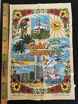 Vintage Pure Linen Tea Towel Gold Coast