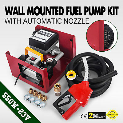 230V  Transfer Fuel Pump Kit With Automatic Nozzle Mesh Filter Wall Hose Clips