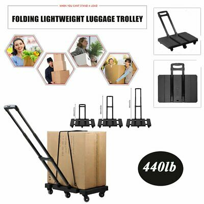 Folding 440LB Hand Truck Dolly Collapsible 6 Wheels Cart Luggage Trolley AK