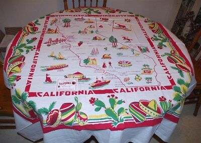 Reproduction Vintage Style Souvenir Red & White California Map Tablecloth, New!