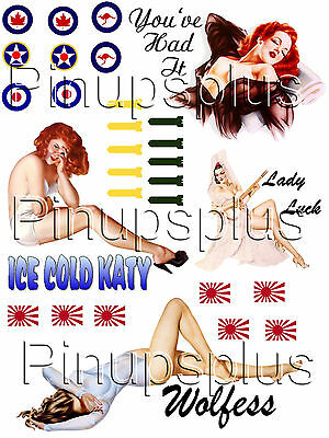WWII Pinup GIRL bomber Nose Art Model Builders Headstock Waterslide decals #74