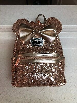Disney Parks Minnie Mouse Rose Gold Loungefly Backpack NEW WITH TAGS
