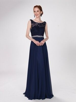 15e23390c6 NEW WOMENS Formal Beaded MOTHER OF THE BRIDE Long Evening Dress Gown M L XL  NAVY