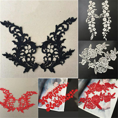 1 Pair Applique Lace Trim Embroidery Sewing Motif DIY Wedding Bridal Craft Decor