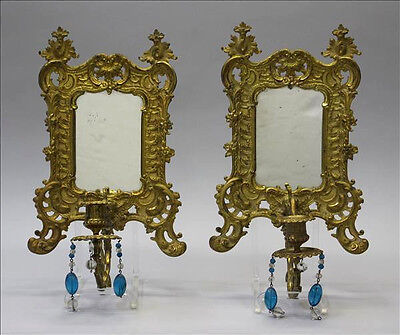 PAIR gorgeous French antique bronze gold gilt putti wall sconces candle mirror