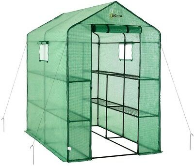 Ogrow Portable Garden Greenhouse 49 in. W x 74 in. D 2-Tier 8-Shelf Door Latch