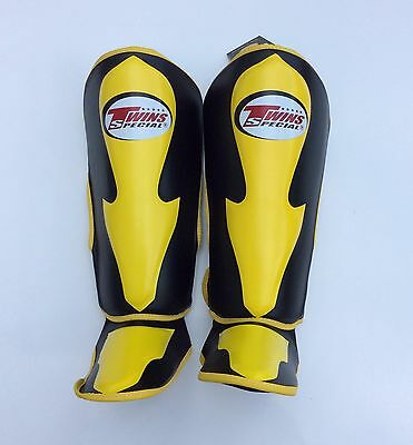 Twins Special Sgl-6 Shin Guards Size S In Blk/Yellow.