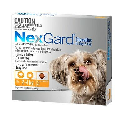 Nexgard Chewables for Dogs 2- 4kgs ORANGE Flea & Tick ALL SIZES