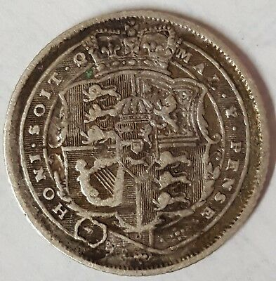 1816 King George Silver Sixpence (J)