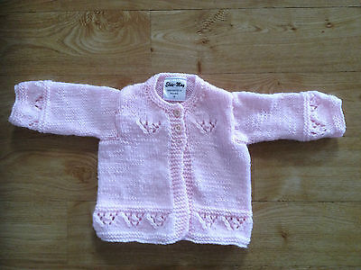 Hand Knitted Pink Baby Cardigan BNWT 0-3 /3-6/ 6-9/ 9-12 Months