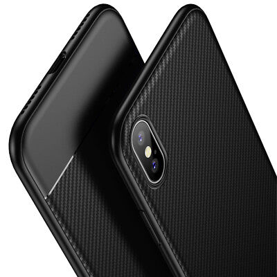 Luxury Carbon Fiber Grain Soft Silicone Thin Case Cover for iPhone X 8 7 6s Plus