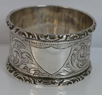 1899 Victorian Chester Silver Napkin Ring & Floral Engraving Shield Cartouche