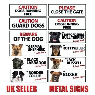 Text Dog Breed Landscape Metal Warning Gate Fence Garden Home Property Shop Sign