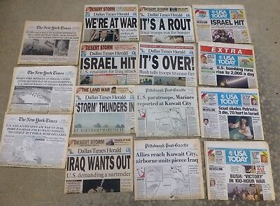 15 Desert Storm Newspapers 1991; NY Times, USA Today, Dallas Times, Pit Post Gaz