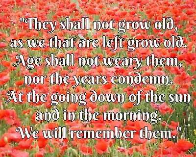 THEY SHALL NOT Grow Old Poem Remembrance Day Poppy Poppies Metal Plaque  Sign R86