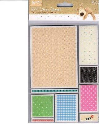 Docrafts Boofle Matching Textured Background & Border stamp set of 9 pieces