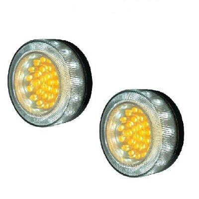 LED Bullbar Indicator Park DRL Clear & Amber Light Pair Suits Toyota Hilux Prado