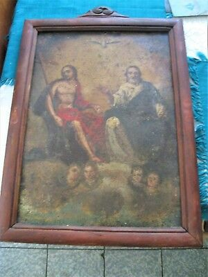 Original Antique Retablo On Tin With The Holy Trinity And Antique Wood Frame