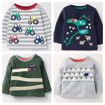 Ex Baby Boden Boys Farmyard Applique Logo Long Sleeve Top x 1 Age 3 6 12 18 24