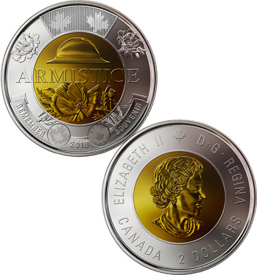 1918-2018 100th Anniversary Armistice Toonie $2 Coin from Special Wrap Roll